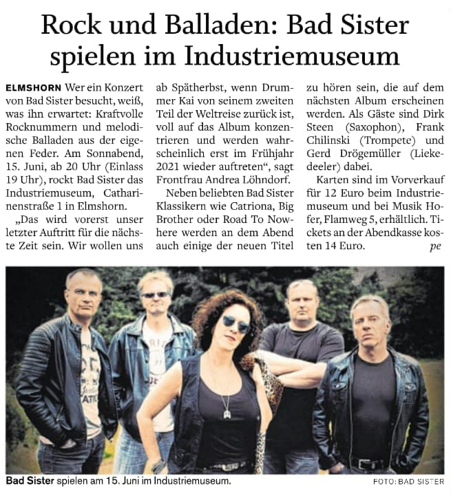 15.06.2019: BAD SISTER im Industriemuseum